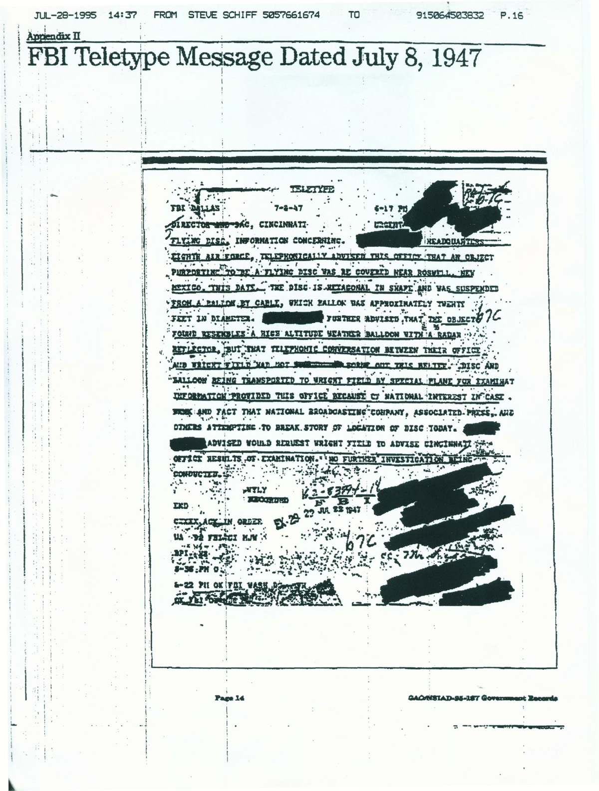 FBI Memo on the Roswell UFO crash.